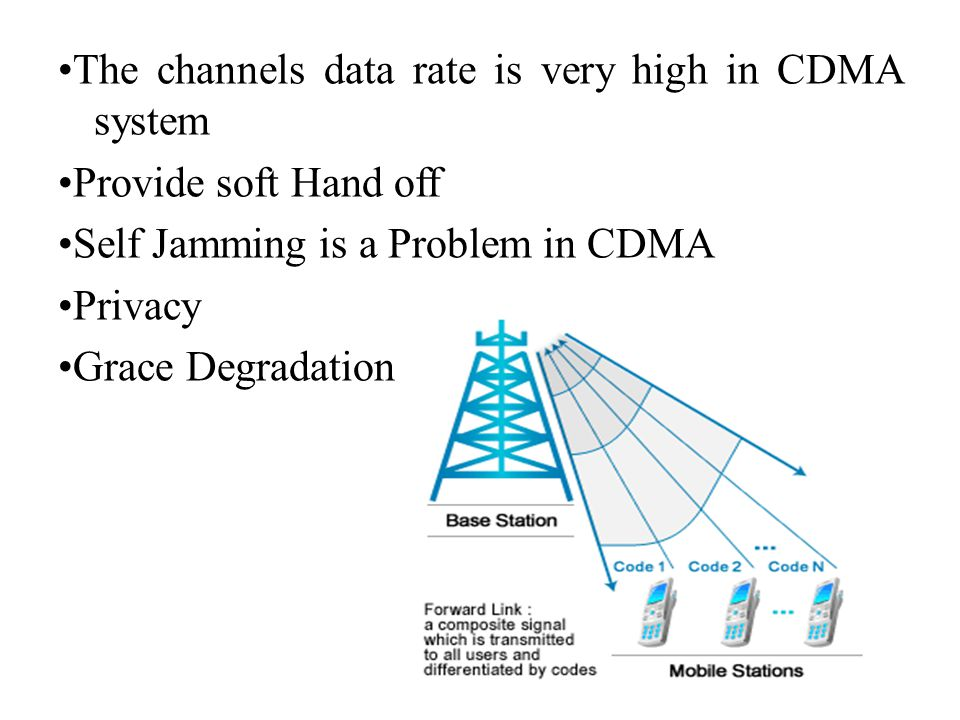 •The channels data rate is very high in CDMA system •Provide soft Hand off •Self Jamming is a Problem in CDMA •Privacy •Grace Degradation