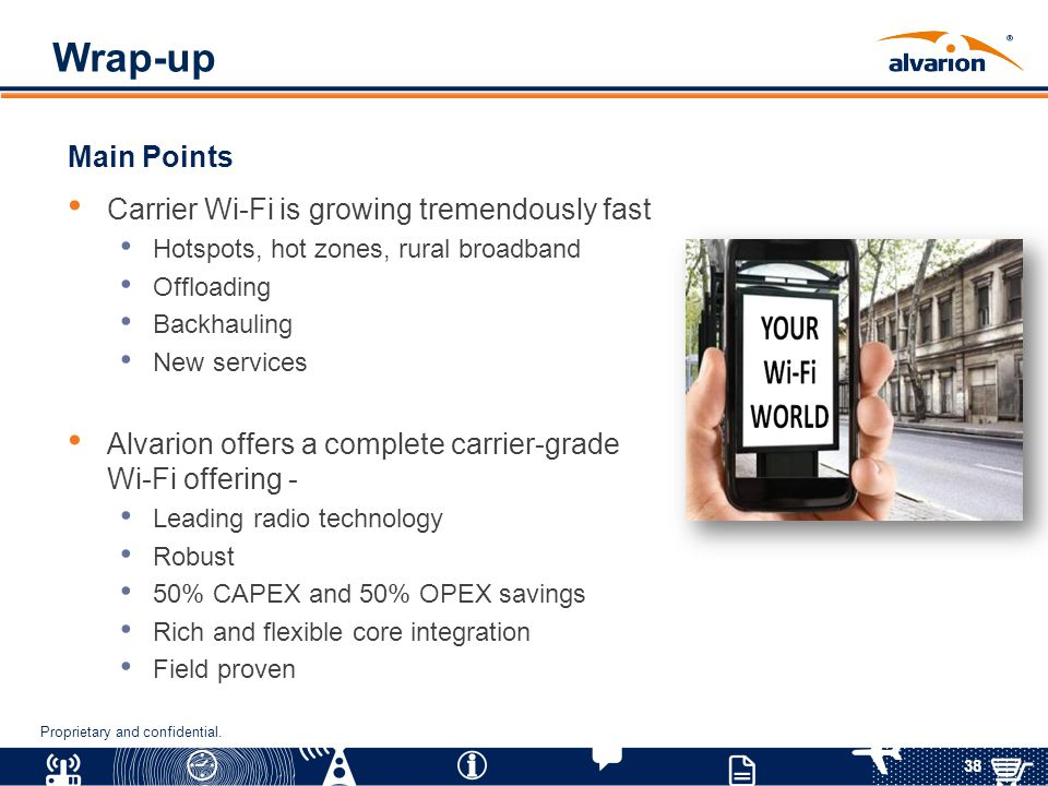 Wrap-up Main Points Carrier Wi-Fi is growing tremendously fast