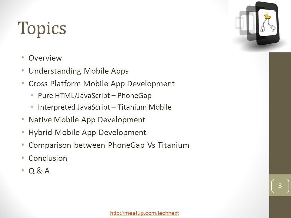 Topics Overview Understanding Mobile Apps