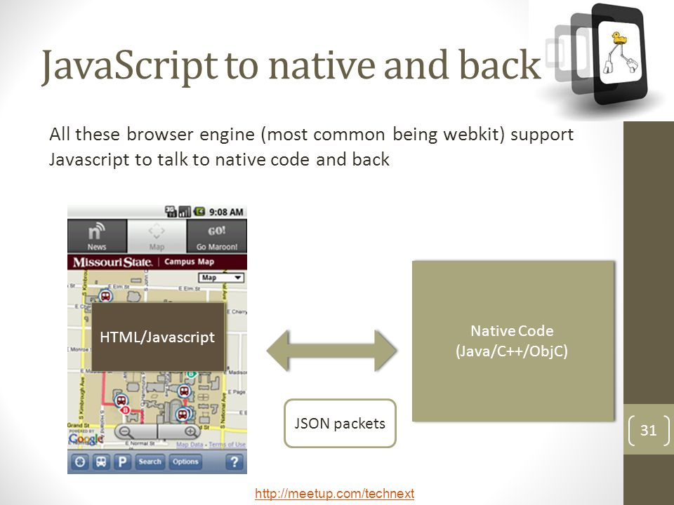 JavaScript to native and back