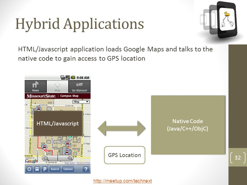 Hybrid Applications HTML/Javascript application loads Google Maps and talks to the native code to gain access to GPS location.