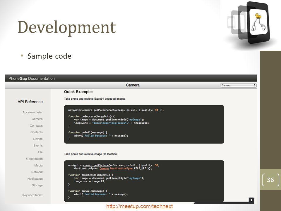 Development Sample code