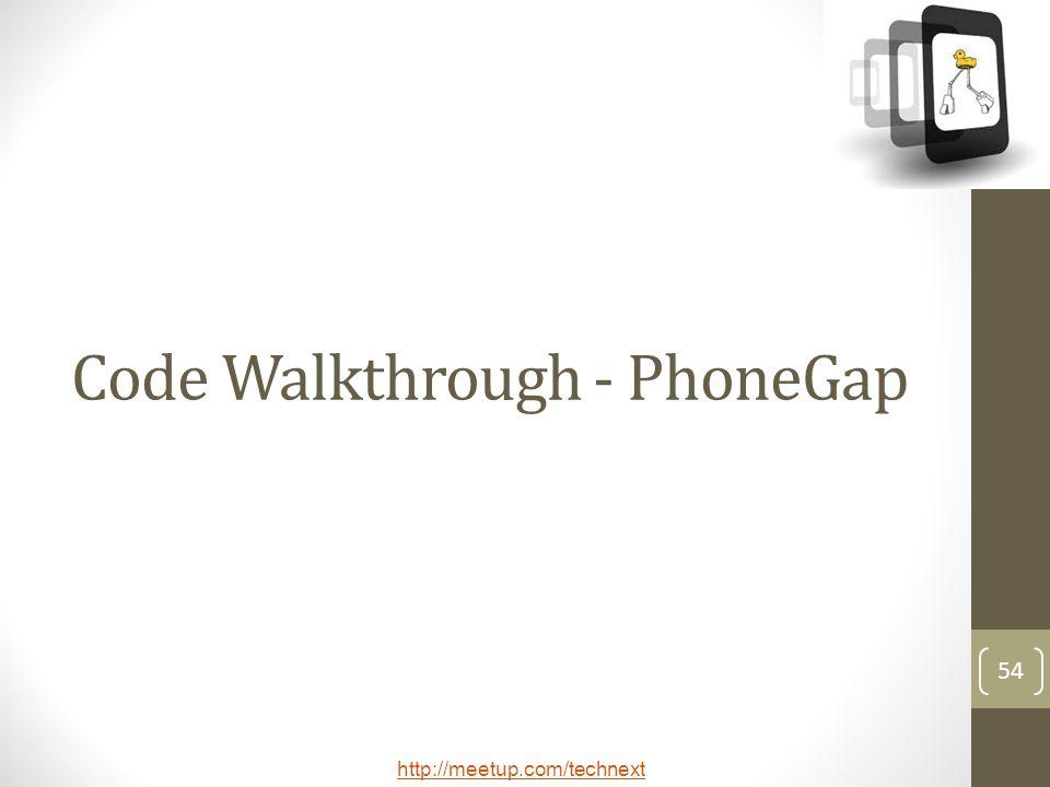 Code Walkthrough - PhoneGap