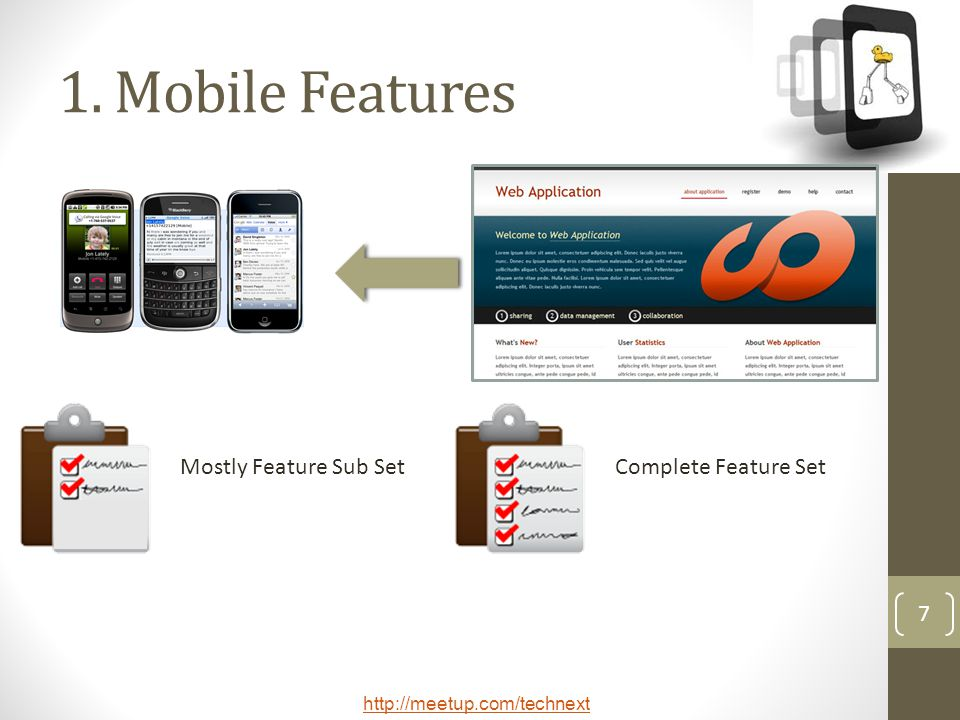 1. Mobile Features Mostly Feature Sub Set Complete Feature Set