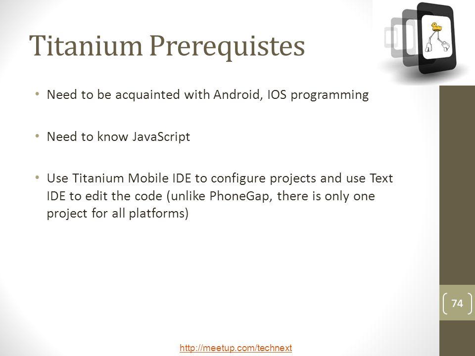 Titanium Prerequistes