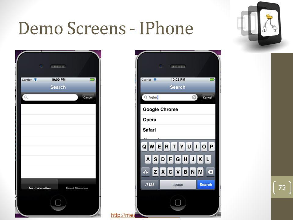 Demo Screens - IPhone
