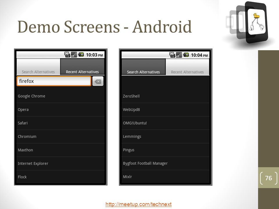 Demo Screens - Android