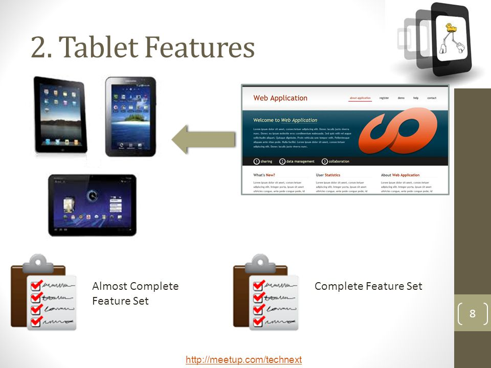 2. Tablet Features Almost Complete Feature Set Complete Feature Set