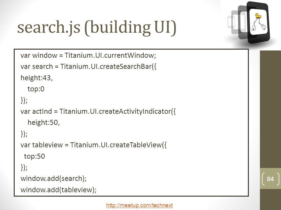 search.js (building UI)
