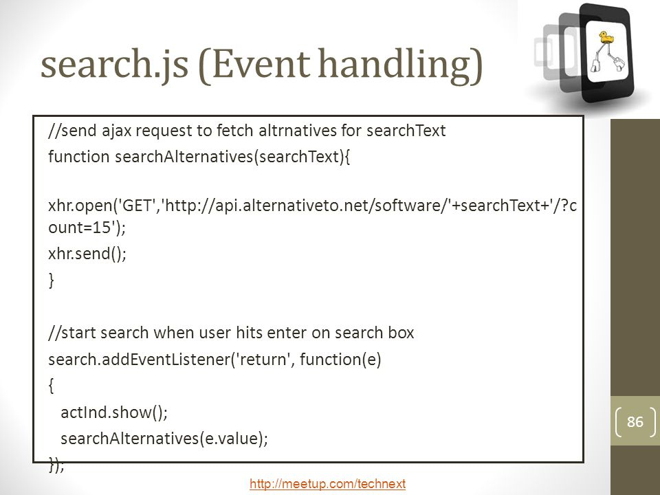 search.js (Event handling)