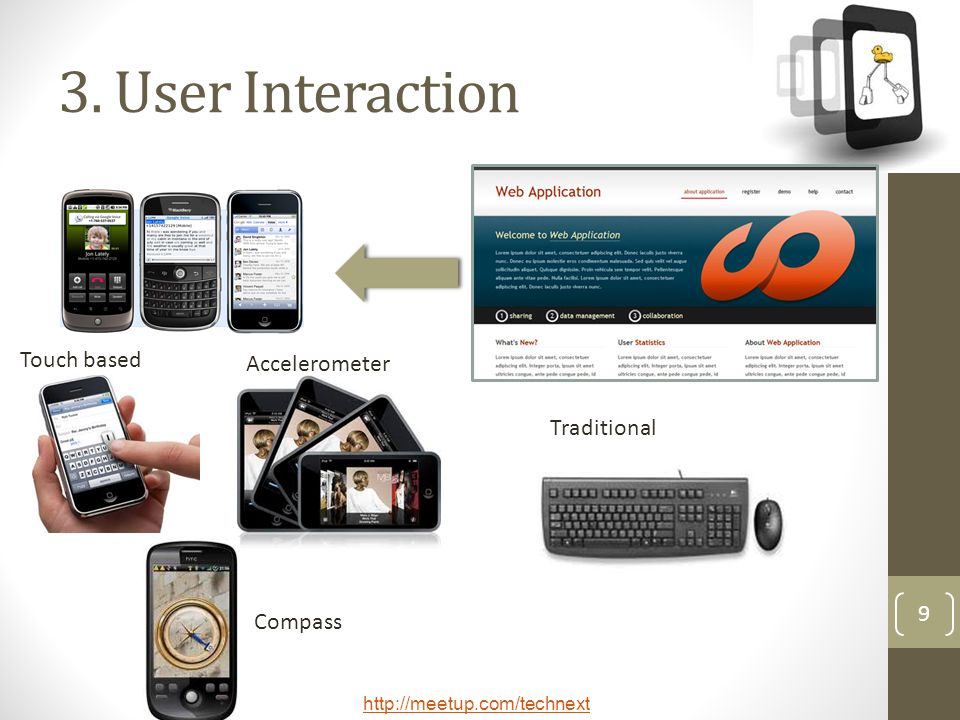 3. User Interaction Touch based Accelerometer Traditional Compass
