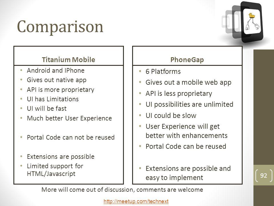 Comparison Titanium Mobile PhoneGap 6 Platforms