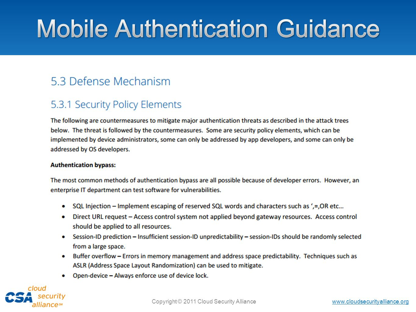 Mobile Authentication Guidance