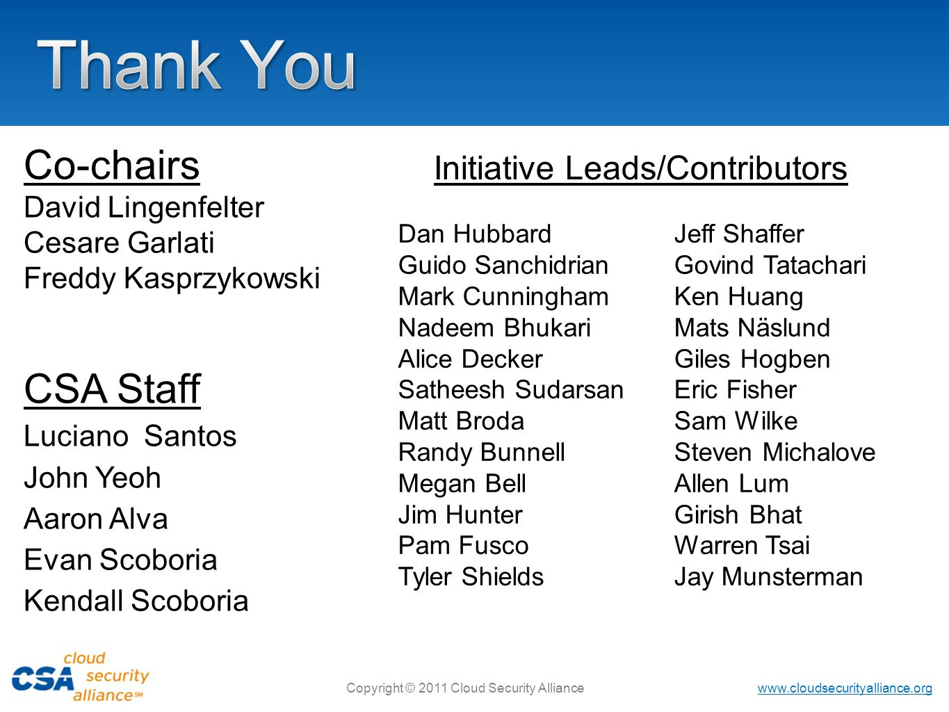 Thank You Co-chairs CSA Staff Initiative Leads/Contributors