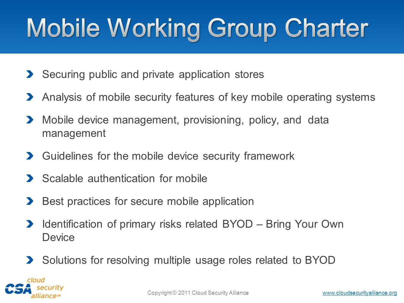 Mobile Working Group Charter