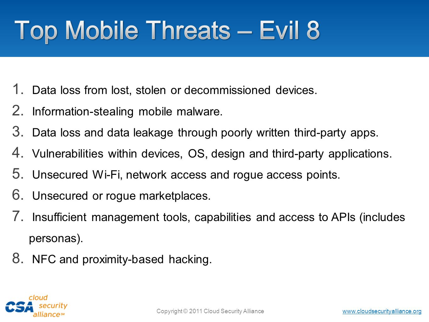 Top Mobile Threats – Evil 8
