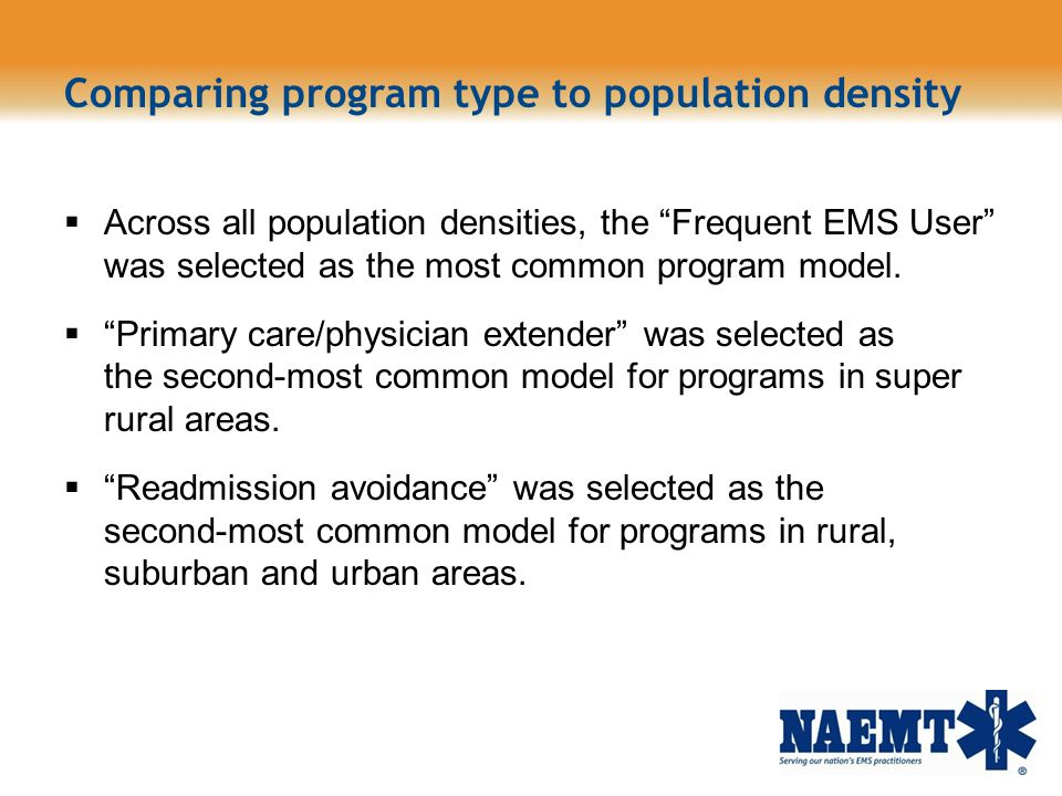 Comparing program type to population density