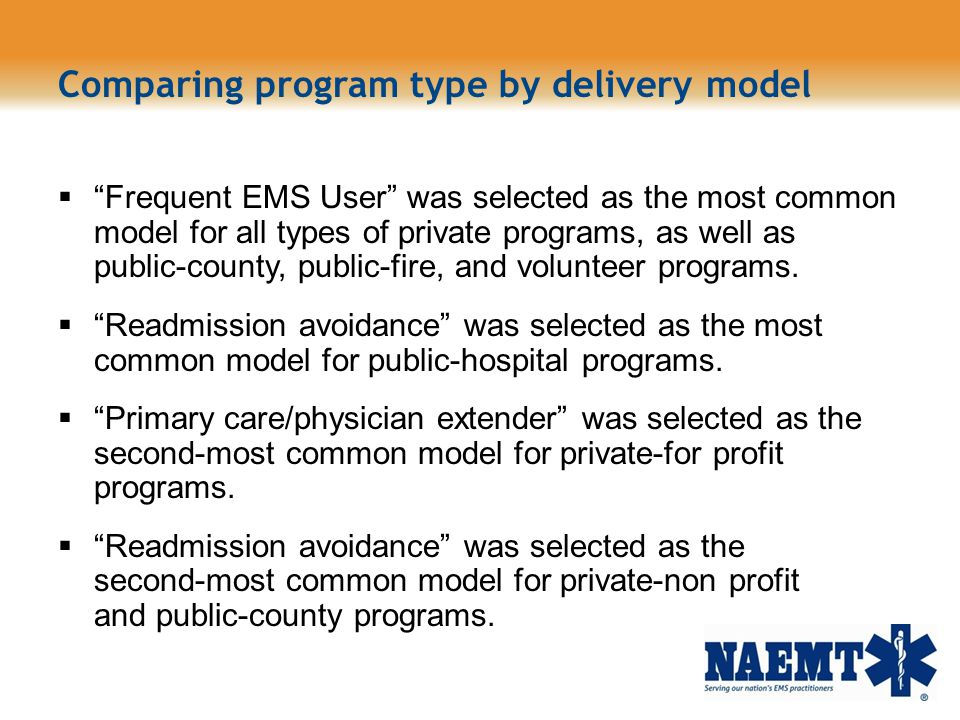 Comparing program type by delivery model