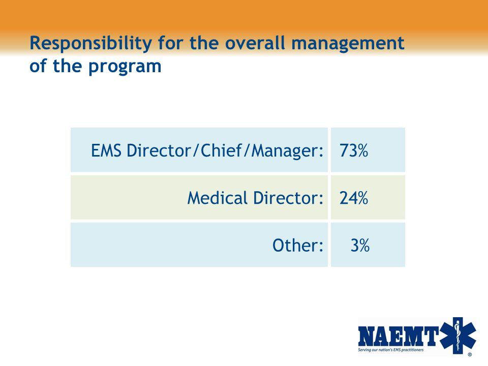 Responsibility for the overall management of the program