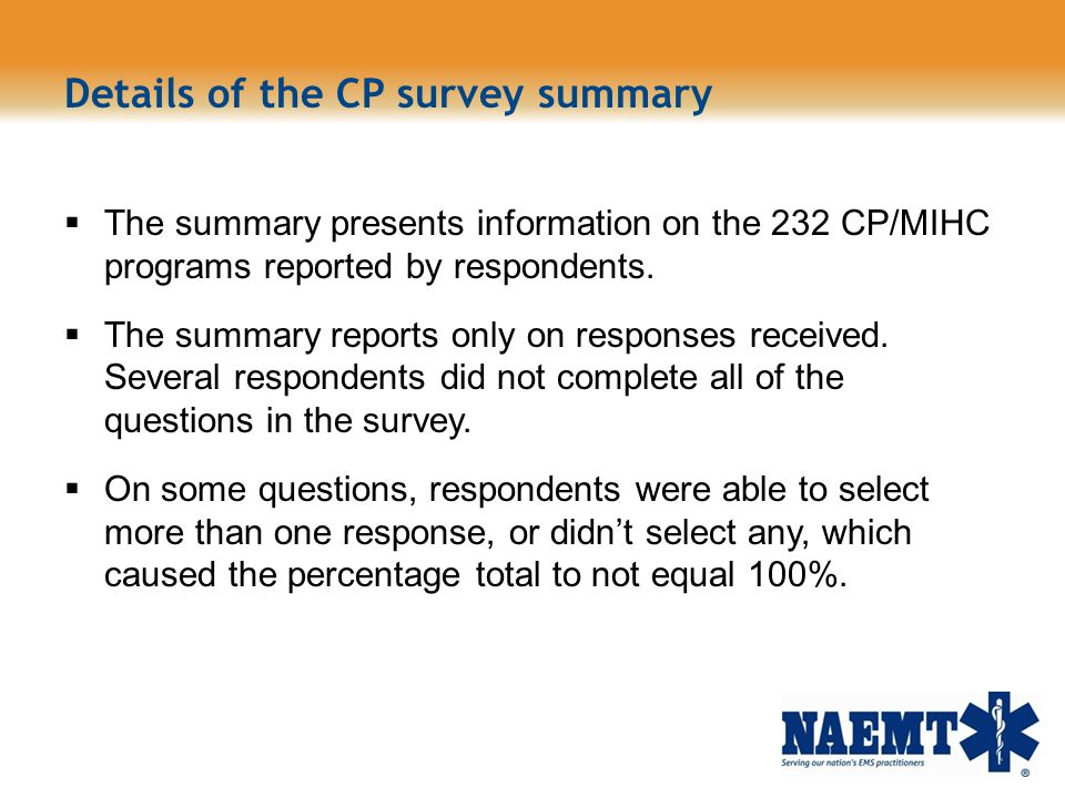 Details of the CP survey summary
