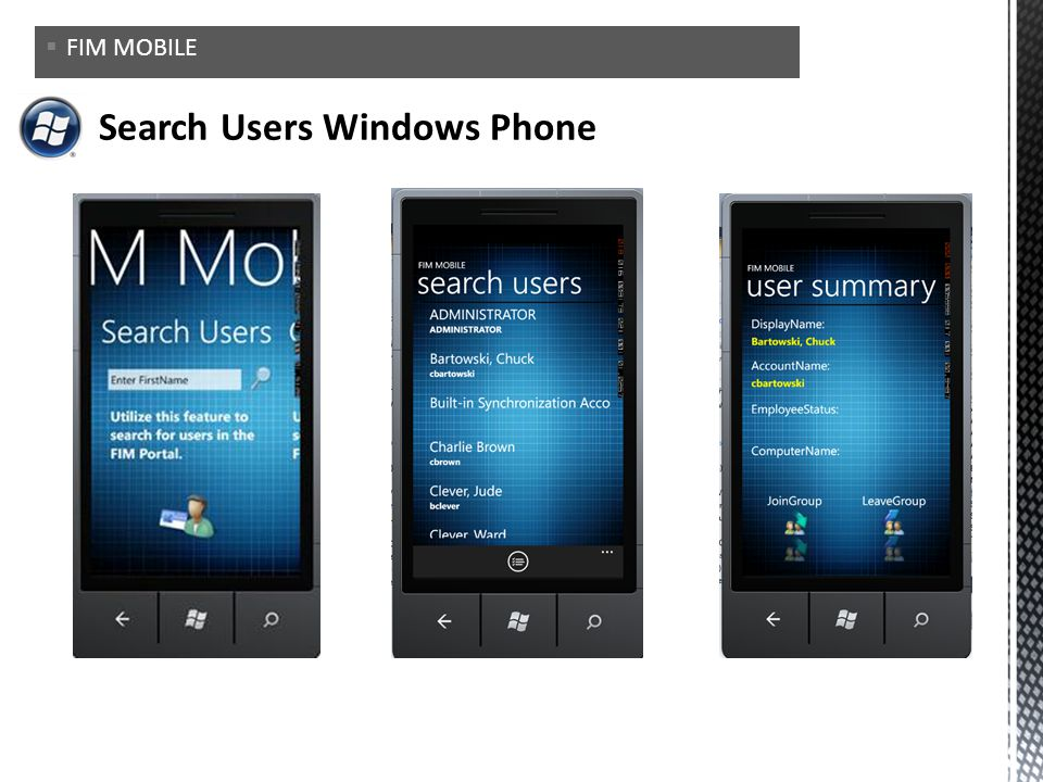 Search Users Windows Phone