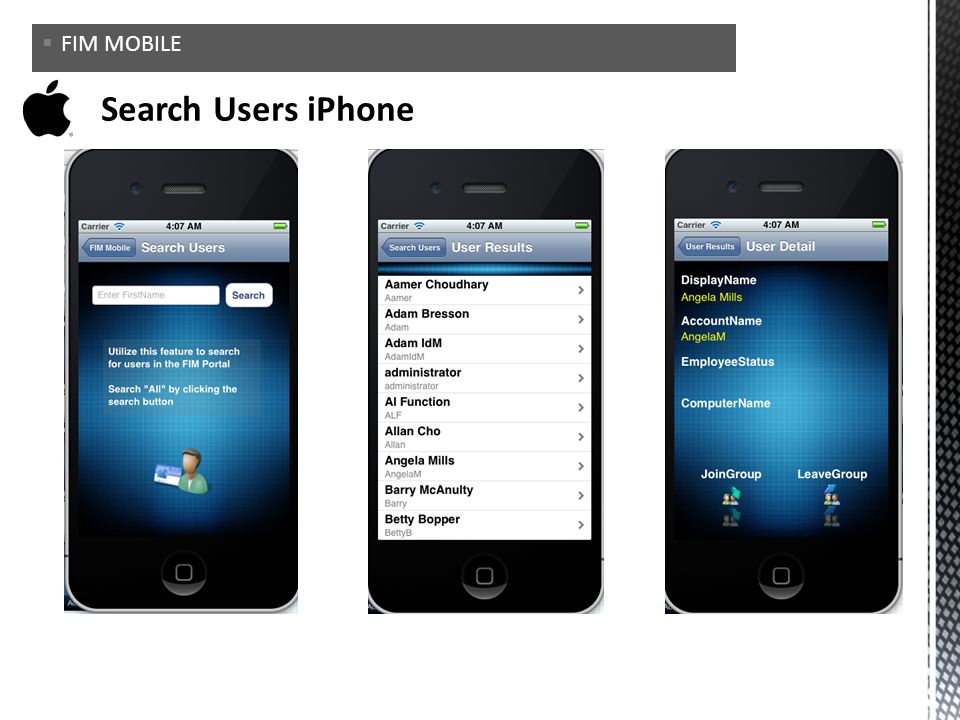 FIM MOBILE Search Users iPhone