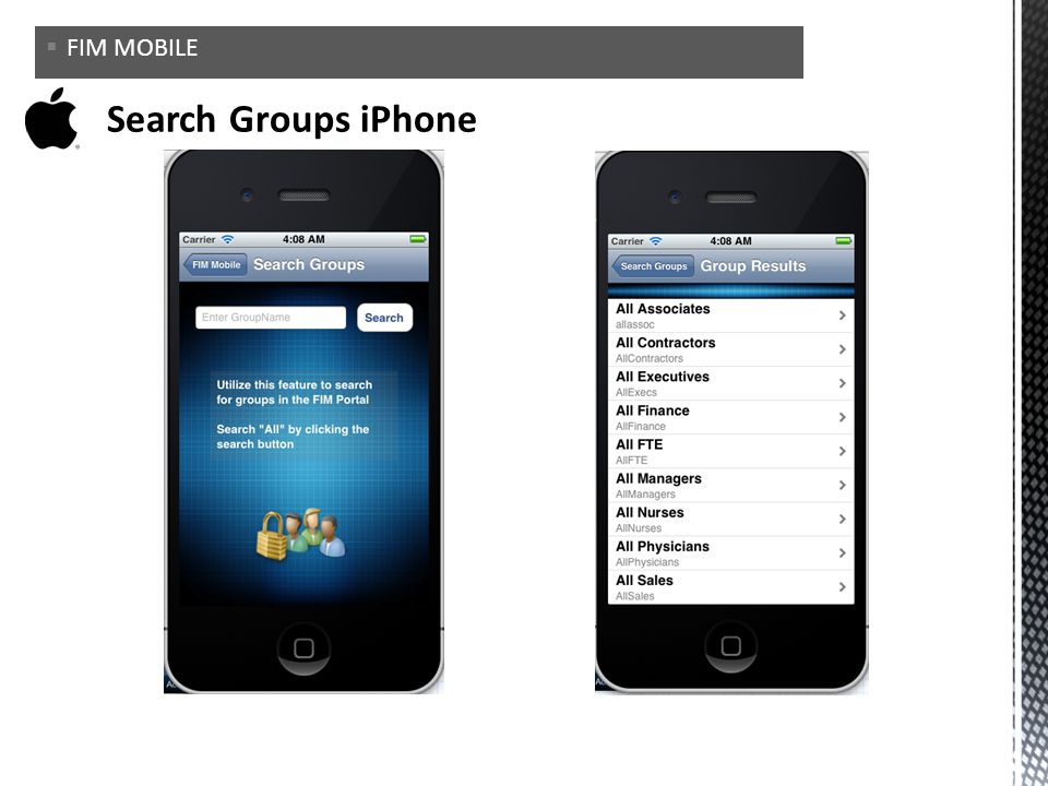 FIM MOBILE Search Groups iPhone