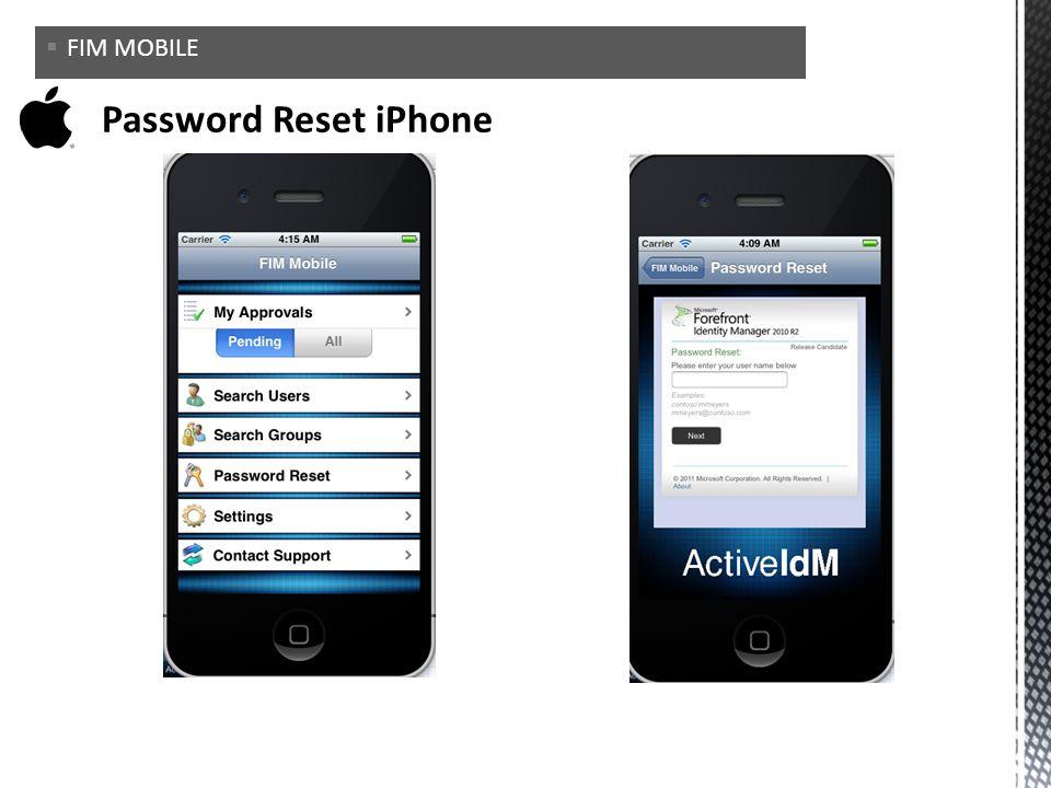 FIM MOBILE Password Reset iPhone