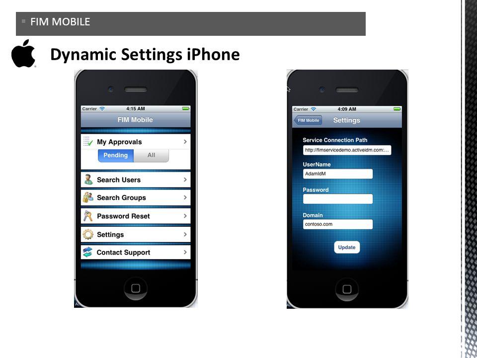 Dynamic Settings iPhone
