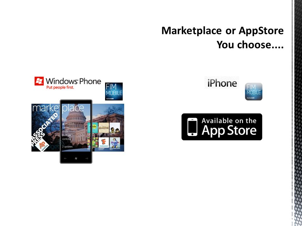 Marketplace or AppStore You choose....