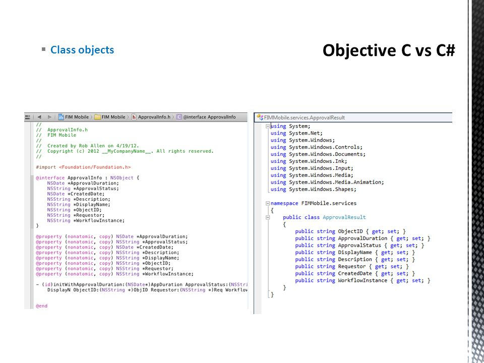 Objective C vs C# Class objects