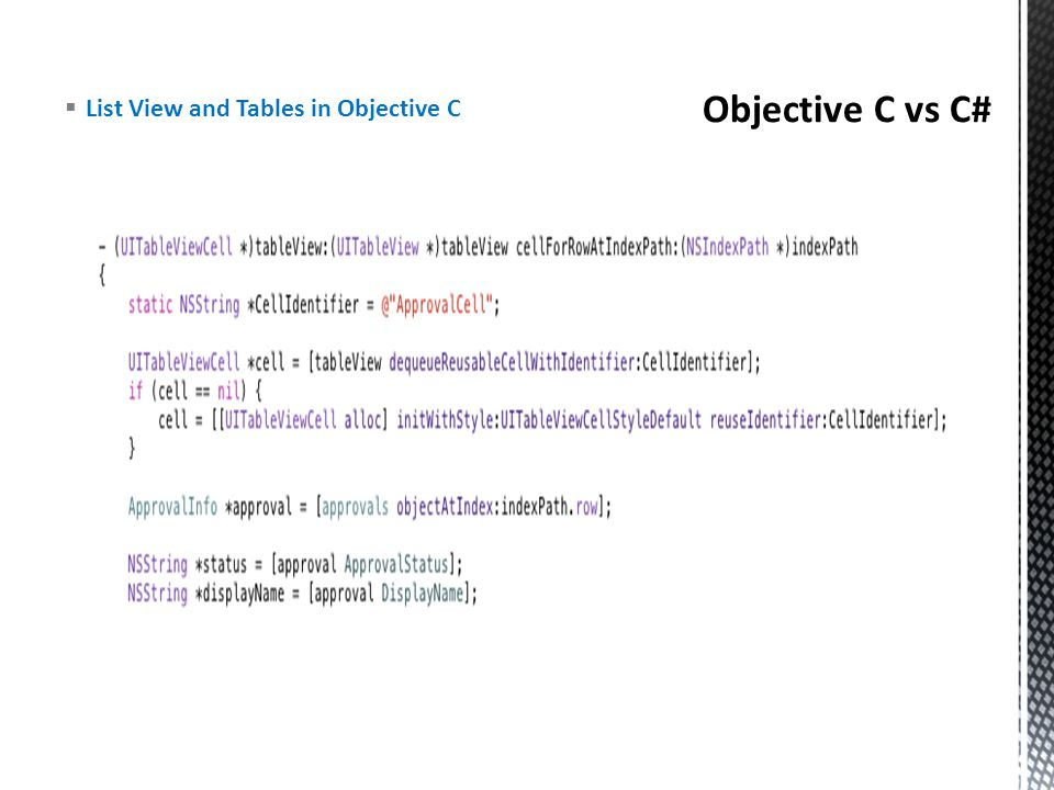 Objective C vs C# List View and Tables in Objective C