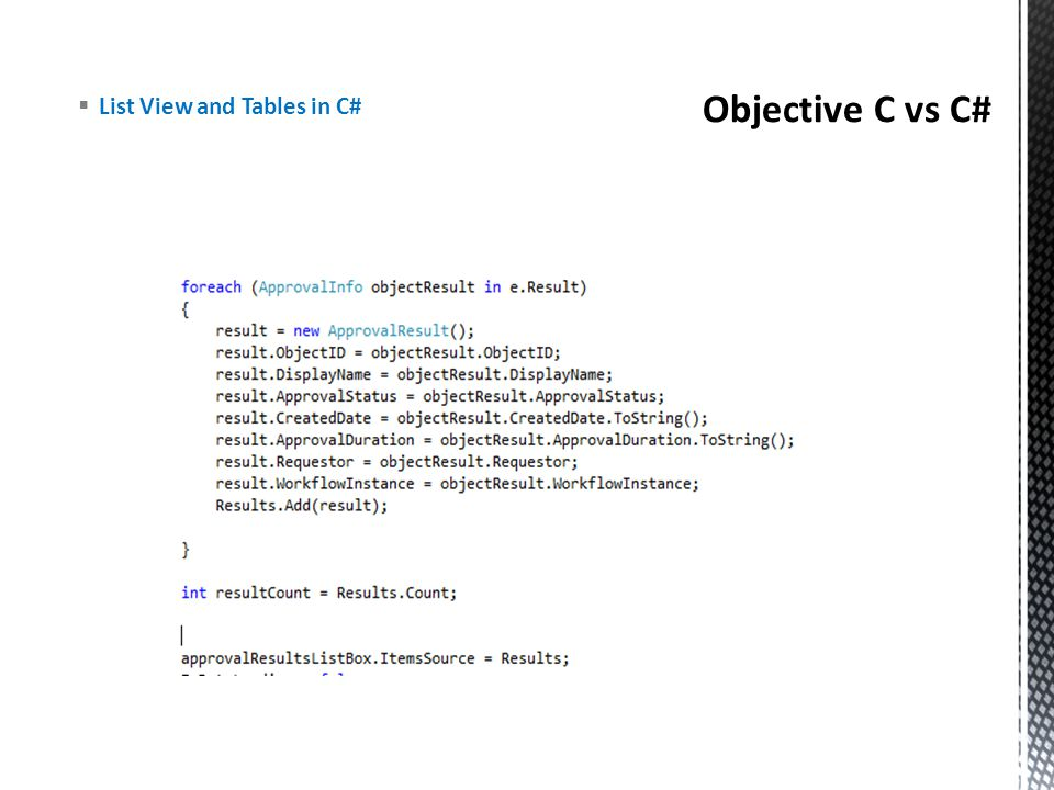 Objective C vs C# List View and Tables in C#