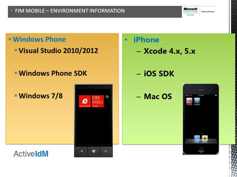 Environments Windows Phone iPhone Visual Studio 2010/2012
