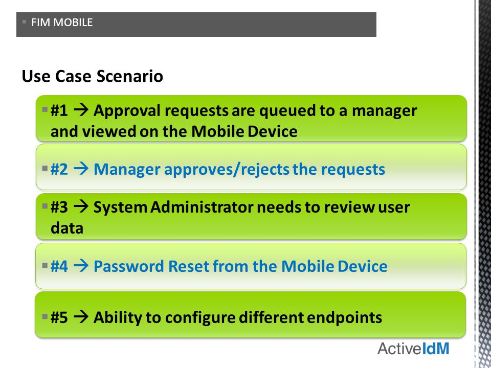 FIM MOBILE Use Case Scenario. #1  Approval requests are queued to a manager and viewed on the Mobile Device.