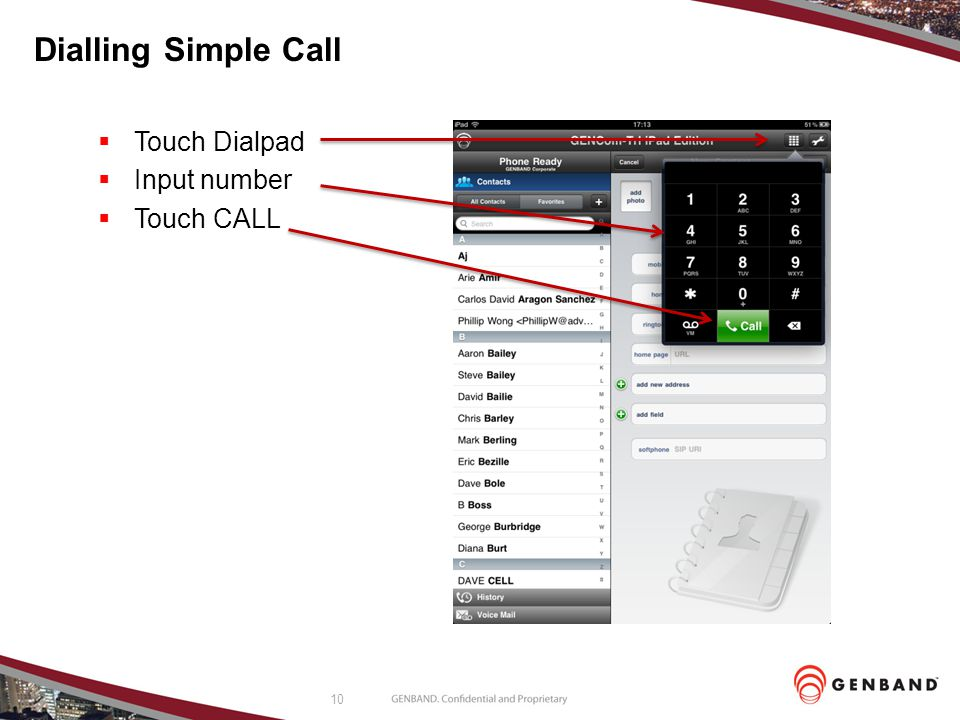 Dialling Simple Call Touch Dialpad Input number Touch CALL