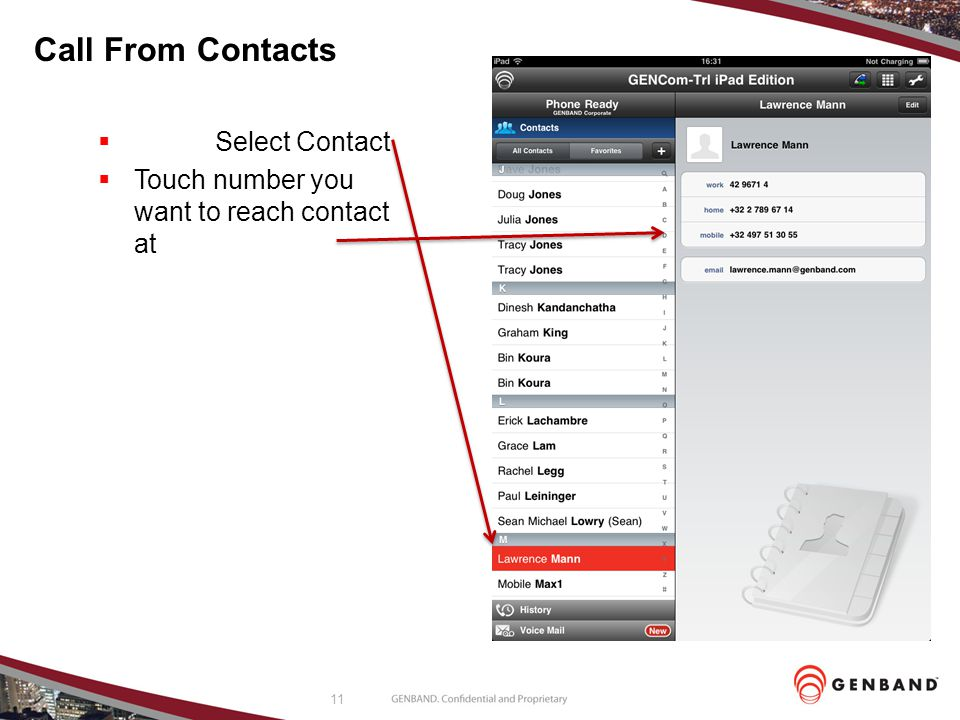 Call From Contacts Select Contact