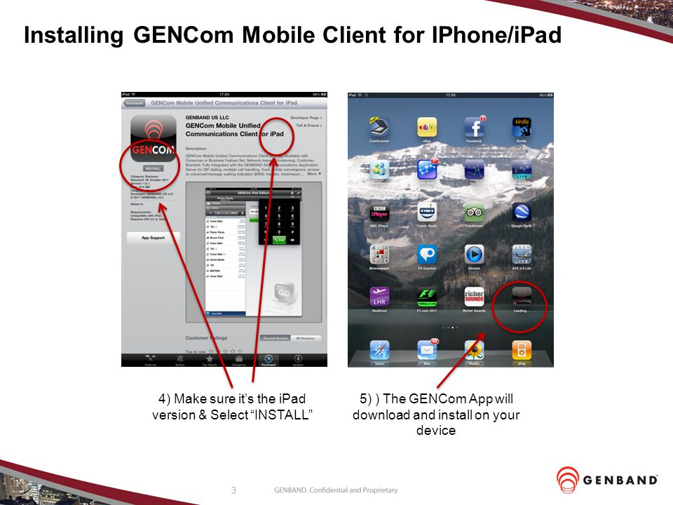 Installing GENCom Mobile Client for IPhone/iPad