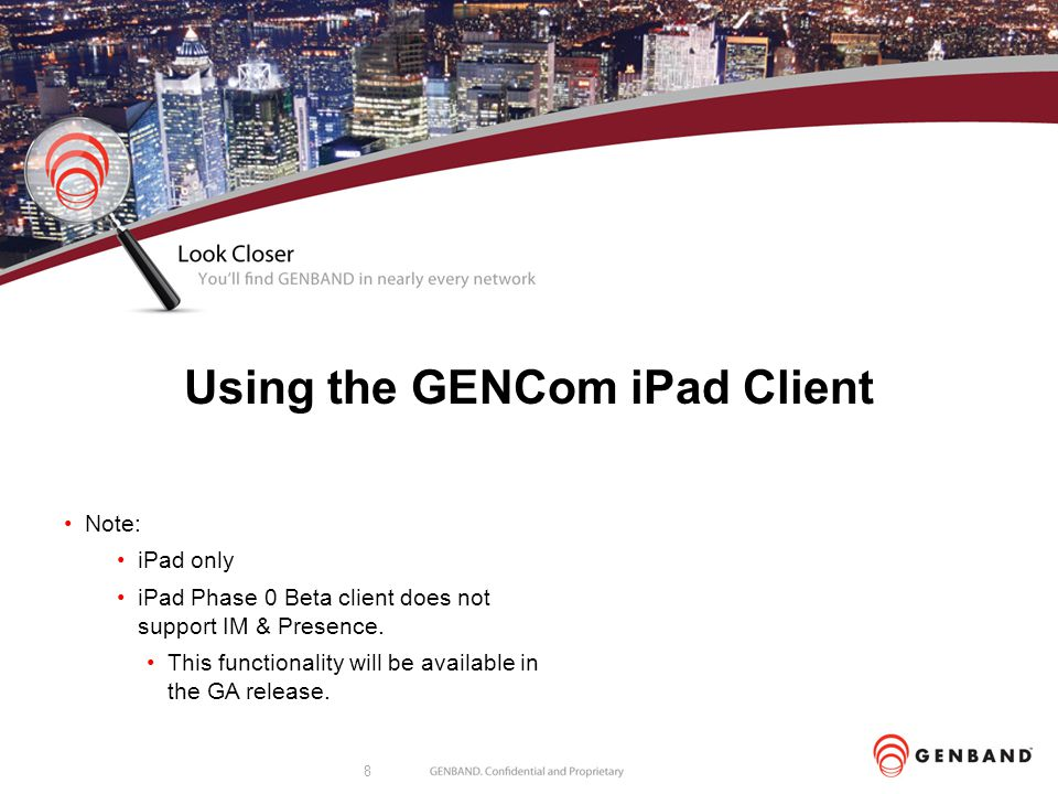 Using the GENCom iPad Client
