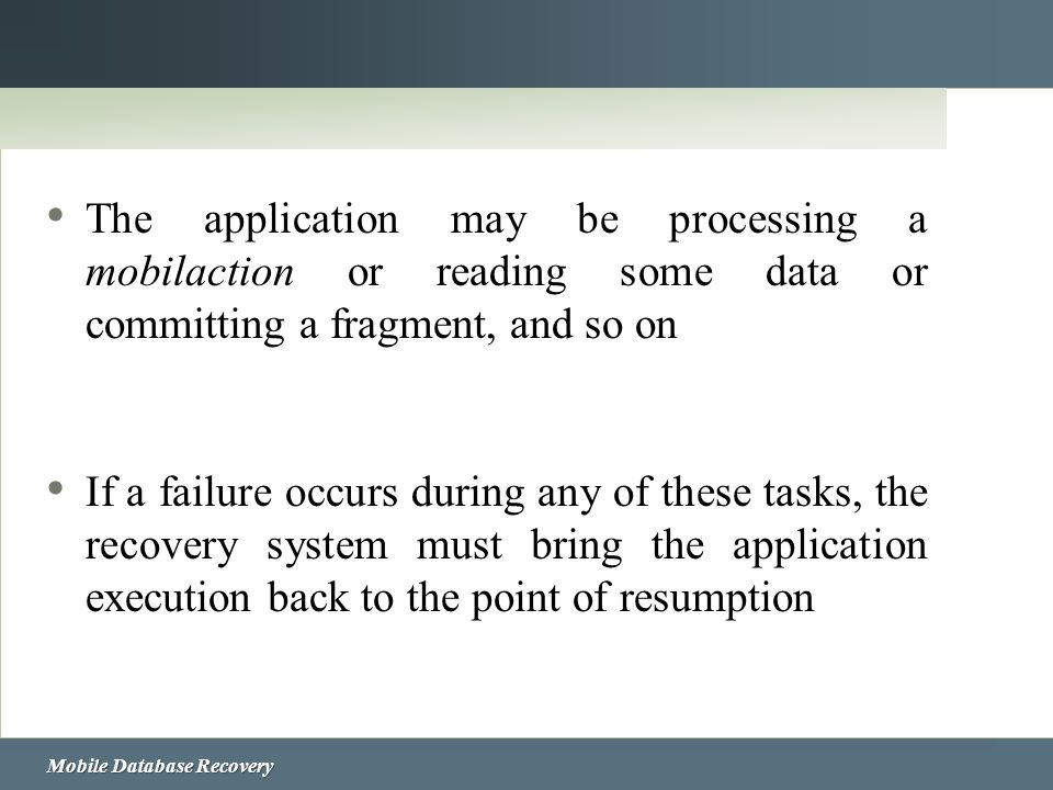 The application may be processing a mobilaction or reading some data or committing a fragment, and so on