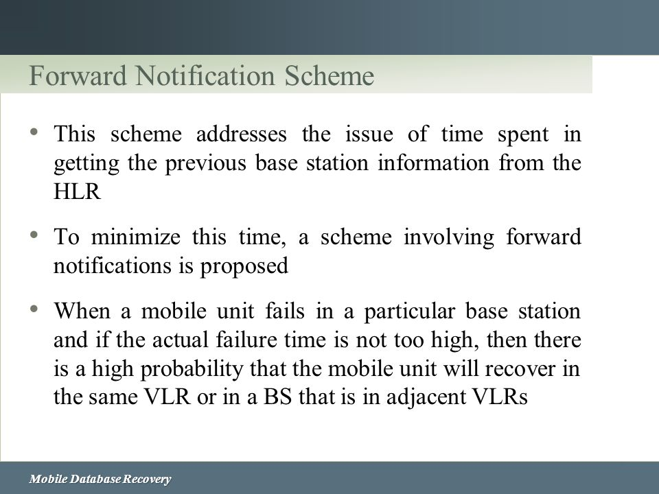 Forward Notification Scheme