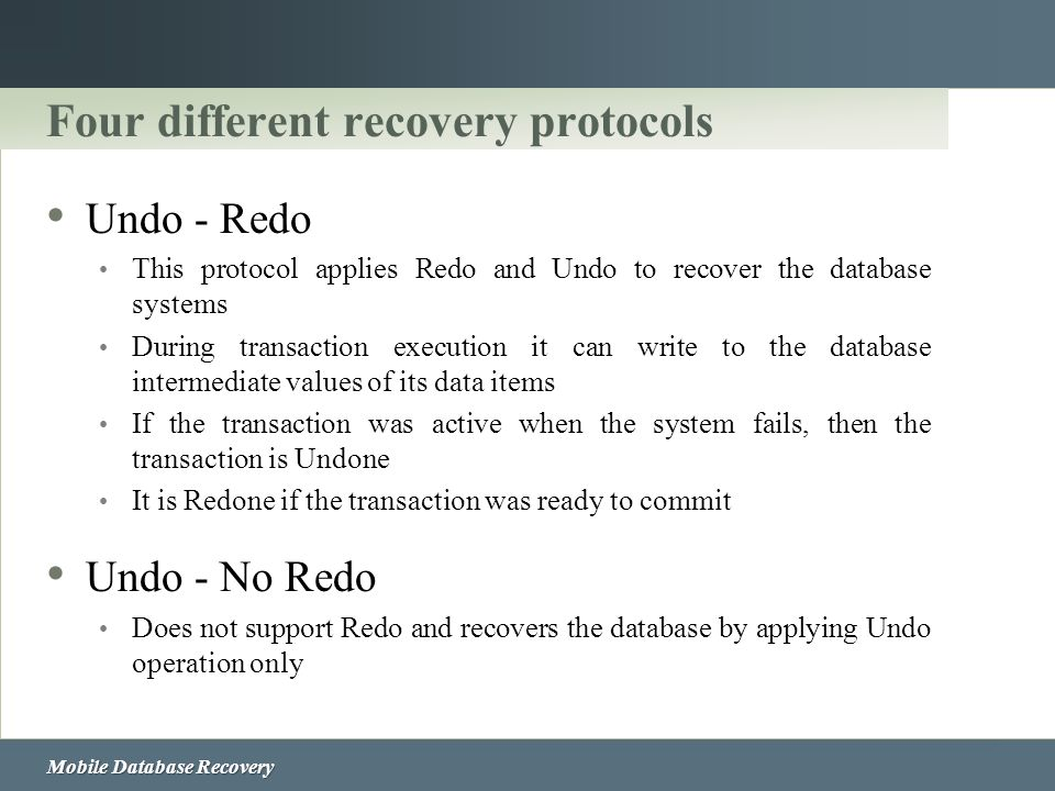Four different recovery protocols