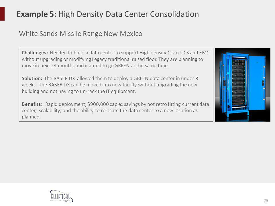 Example 5: High Density Data Center Consolidation