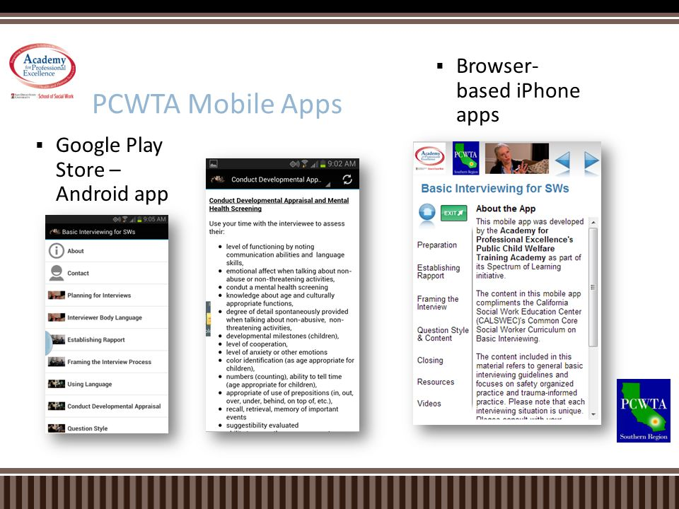 PCWTA Mobile Apps Browser- based iPhone apps
