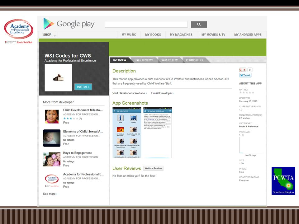 These are the PCWTA mobile applications that we currently offer
