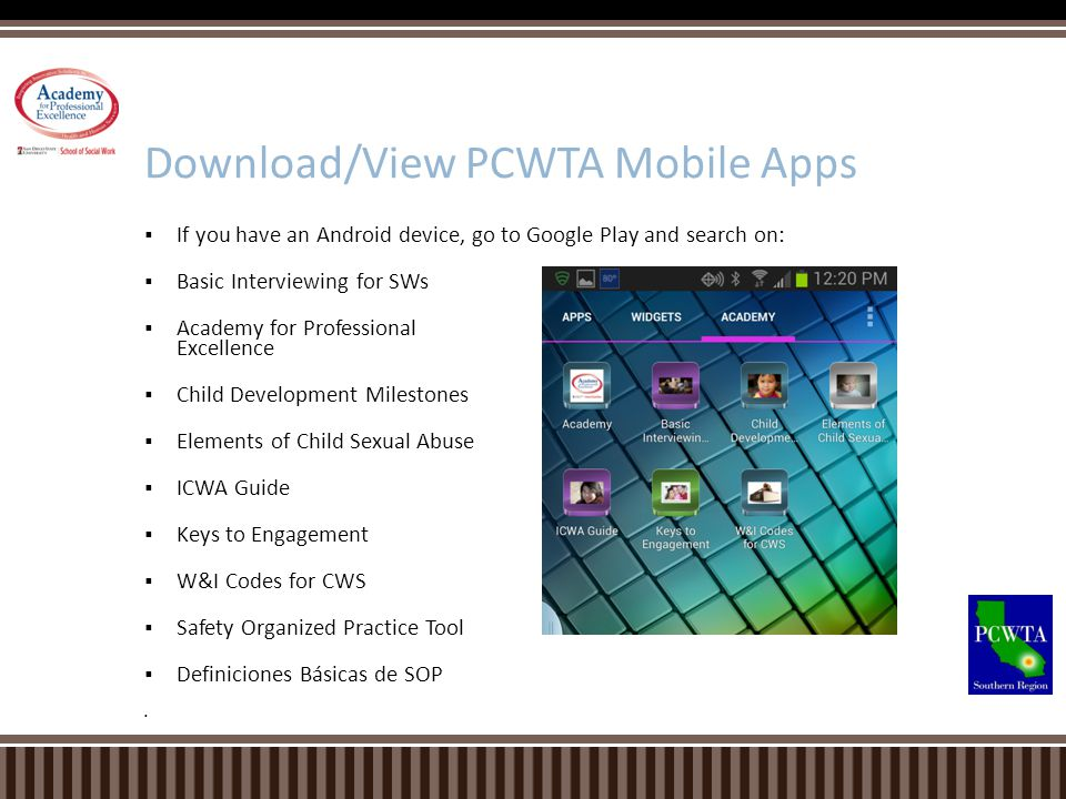 Download/View PCWTA Mobile Apps