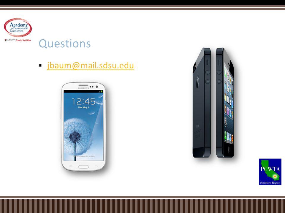Questions jbaum@mail.sdsu.edu