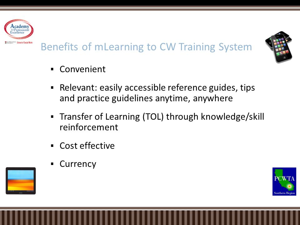 Benefits of mLearning to CW Training System