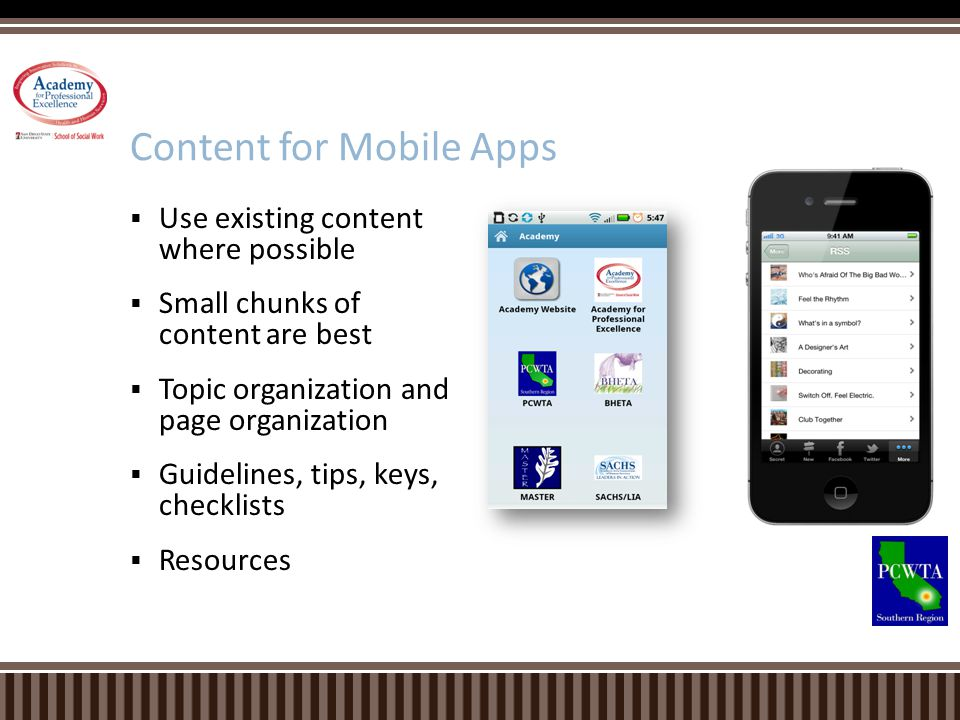 Content for Mobile Apps