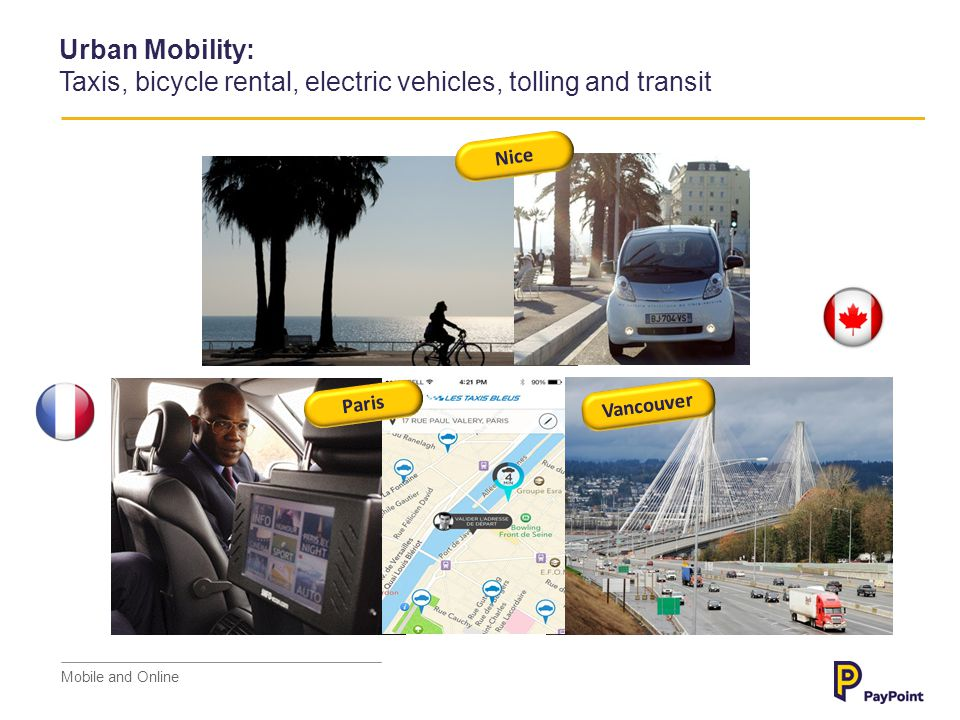 Urban Mobility: Taxis, bicycle rental, electric vehicles, tolling and transit